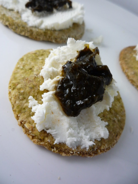 Laverbread Oatcakes topped with Soft Goats Cheese & Laverbread