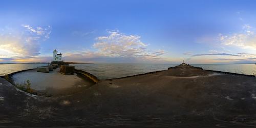 morning ohio panorama lighthouse sunrise harbor pier nikon lakeerie fishermen pano sony fisheye oh hdr greatlake fairport 105mm equirectangular 360vr nex5