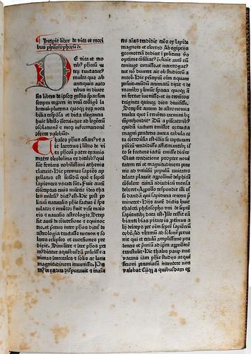 Opening page of text from 'De vita et moribus philosophorum'. Sp Coll Hunterian Bx.2.6.