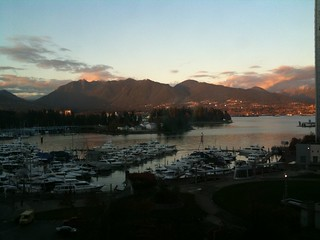 Love it when the Vancouver sunset turns the mountains pink