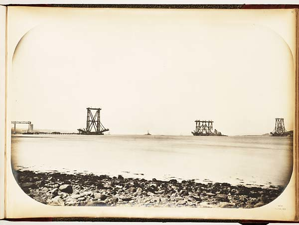 Forth bridge construction: general view taken from dalmeny park at