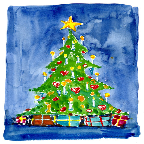 christmas tree 03 watercolor by HikingArtist.com