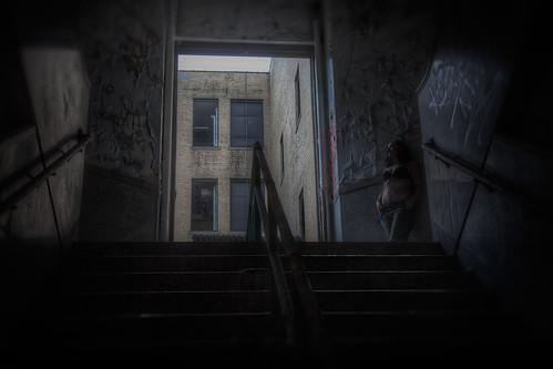 female stairs dark feminine grunge bra detroit walls peelingpaint seductive casstech urbex