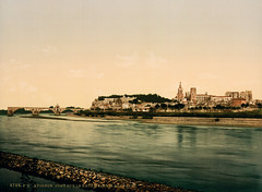 Rhone Bridge & Papal Palace, Avignon, Provence, France, ca. 1896