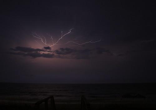 ocean longexposure storm night clouds nc surf northcarolina bolts thunderstorm lightning atlanticocean holdenbeach davidhopkinsphotography