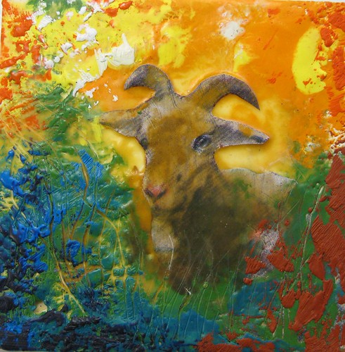 Encaustic Goat Painting