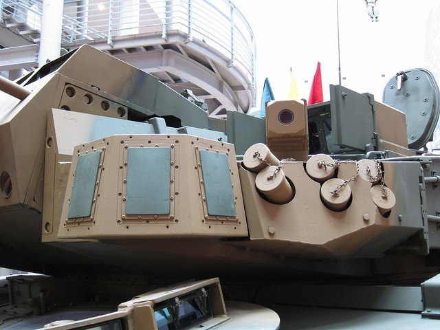 Turret of K2 Main Battle Tank, the Visual and Infrared Screening Smoke launcher and Missile Approach Warning System