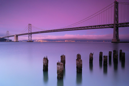 sanfrancisco california longexposure travel sunset summer sky usa water night clouds lights pier clear baybridge embarcadero sanfranciscobay pilings bluehour geotag suspensionbridge sanfranciscooaklandbaybridge 0986 nikond80 thechallengefactory hightechgnd0906filters richgreenephotography