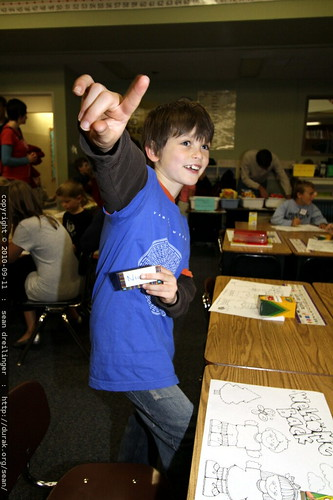 nick arrives at his desk for the first day of second grade