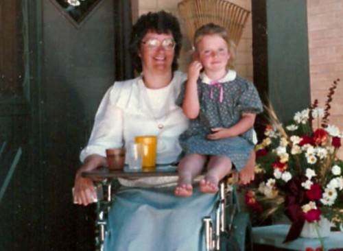 Aunt Cheryl and me, about six years old.