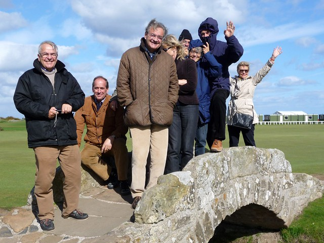 Tour Group at Swilken Bridge, Old Course, St Adrews, Scotland