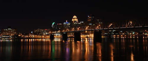 reflection water skyline night kentucky indiana louisville ohioriver sony350