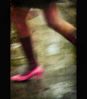Pink Shoe in a New York Rain