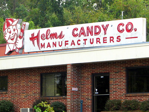 Helms Candy Co. neon sign