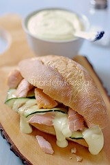 Sandwich with grilled zucchini and salmon
