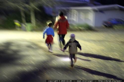 running through the dark streets to nick's elementary school