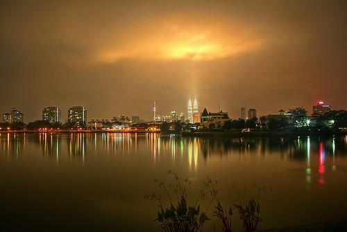 park lake tower night petronas towers twin kualalumpur kl hdr klcc taman ampang topaz tasek photomatix hilir