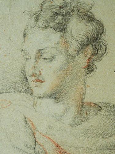 RUBENS (d'Après BUONARROTI Michelangelo) - Le Prophète Isaïe, Chapelle Sixtine (drawing, dessin, disegno-Louvre INV20228) - Detail 035