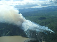 Yukon Charley Rivers National Preserve - Cessna evading fires on the Yukon River - bush planes