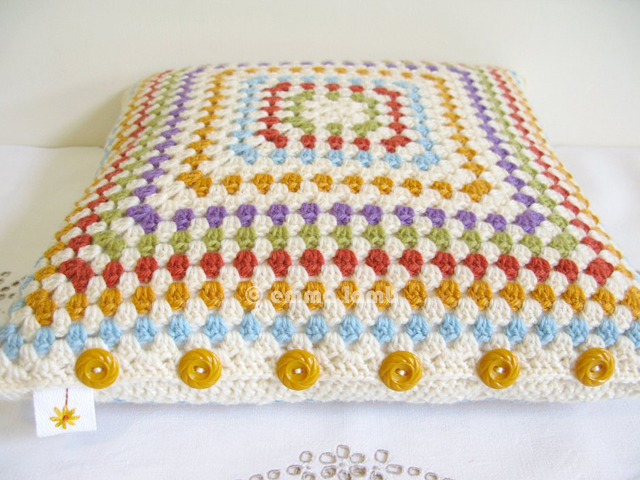 Ingrid, square cushion cover hand crochet by Emma Lamb - Now in my Etsy shop!