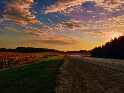 sunset sky field grass minnesota clouds corn sundown farm rochester hdr gravel picturenaut salemroad