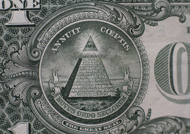 the pyramid on the back of a US one dollar bill (2013)