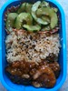 orange chicken, cucumber salad, brown mochi rice by mimiito