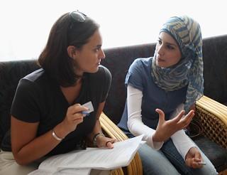 Sharing one-on-one, Encounter Trip, Bethlehem (© Shari Diamond)