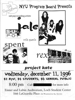 Jale / Spent / Rex / Project Kate flyer