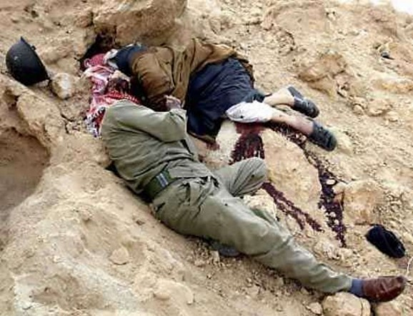 Female soldiers dead bodies for