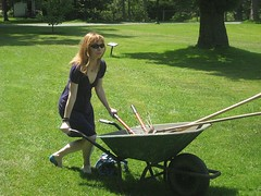 baby carriage(0.0), hammock(0.0), cart(0.0), grass(1.0), wheel(1.0), vehicle(1.0), lawn(1.0), wheelbarrow(1.0),