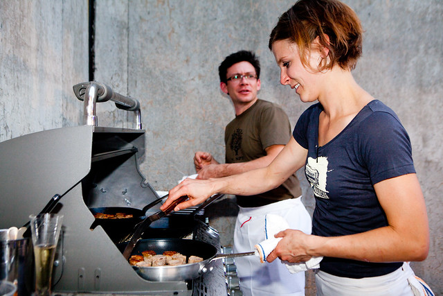 Cooking at Melissa Perello of Frances, SF's station