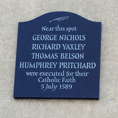 Photo of George Nichols, Richard Yaxley, Thomas Belson, and Humphrey Pritchard black plaque
