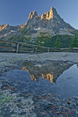 Liberty Bell, reflection, from Washington Pass Overlook, Highway 20, North Cascades, Washington
