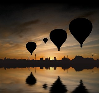 Sundown  balloon reflection