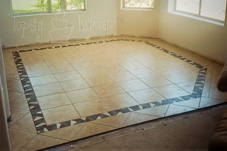 Dining room tile floor finished flickr photo sharing for Dining room tile designs