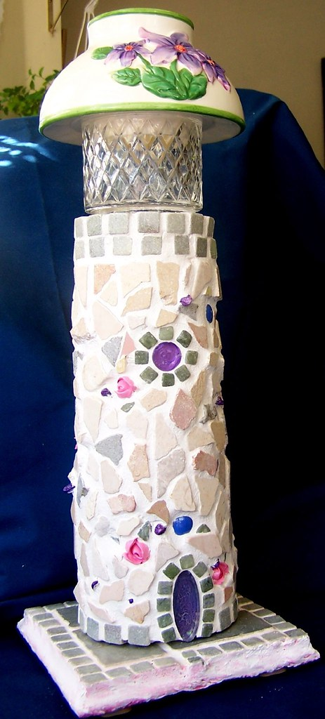 Stone and Roses Mosaic Lighthouse Lamp or Night Light