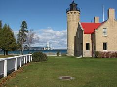Lighthouse with Mackinaw Bridge in Background