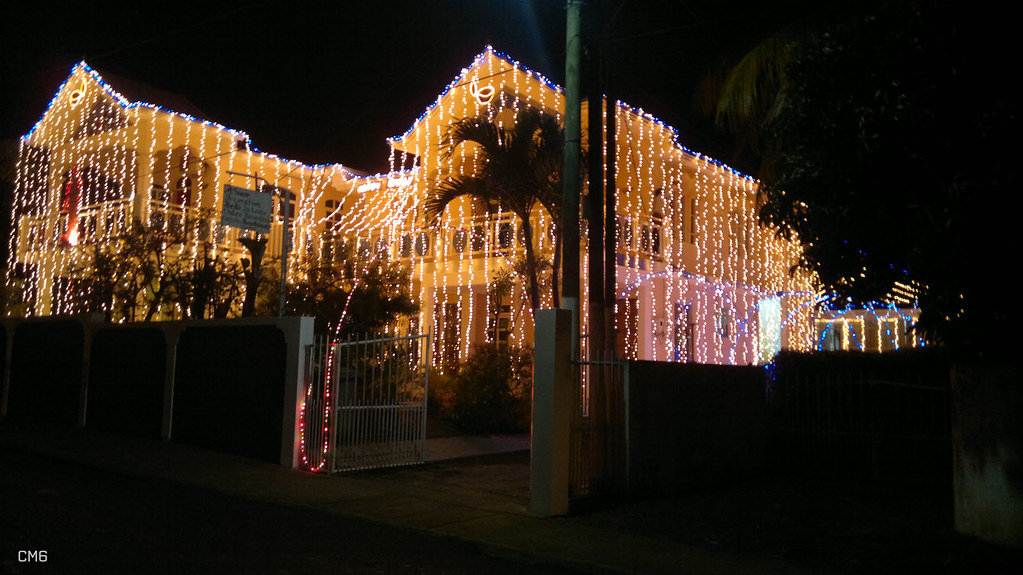Houses are brightly decorated during Diwali celebrations in Mauritius