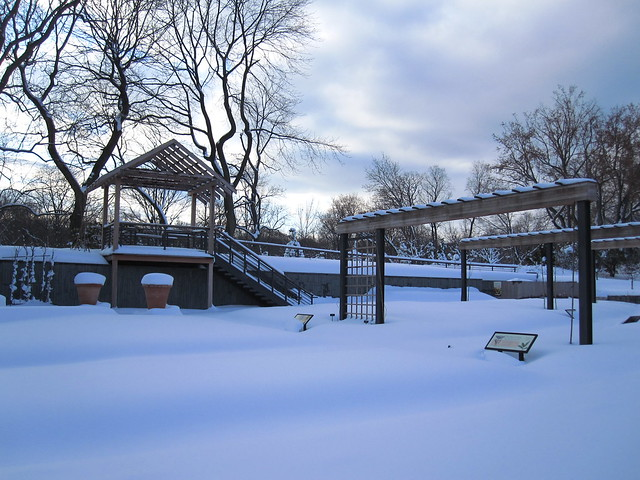 The snow-buried Herb Garden. Photo by Rebecca Bullene.
