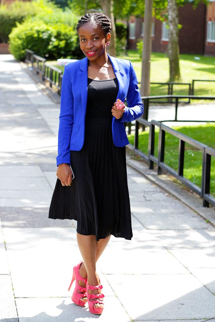 cobalt-flower-ring-flower-earrings-cobalt-triple-front-bow-heels-black-pleated-skirt-cobalt-blue-structured-blazer,Blue women's blazer, coloured blazers, work style, work fashion, cobalt blazer, womens cobalt blazer, structured blazer, womens structured blazer, blue structured blazer, cobalt blue structured blazer, womens blazers, blazers for women, womens blue blazers
