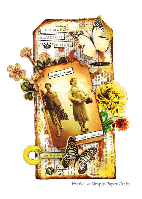 Meihsia Liu Simply Paper Crafts Miexed Media tag Distress Journey Simon Says Stamp Tim Holtz