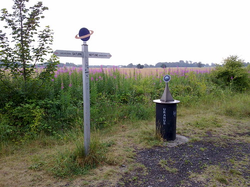 Scale model of the solar system on a bike route