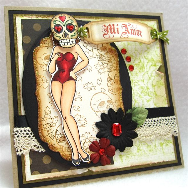Sugar Skull Pin Up http://www.flickr.com/photos/30140618@N03/4843312021/