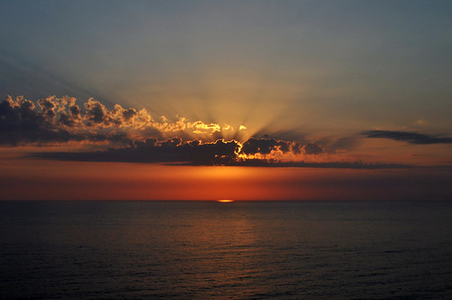 sunset sea orange clouds greece corfu agiosgordios