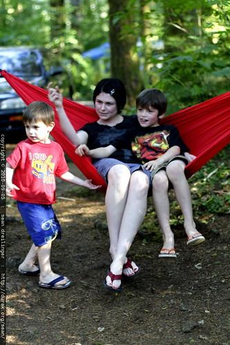 rachel & her boys at the hammock