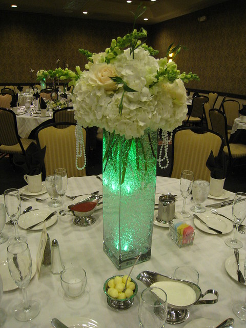 Lighted up hydrangea centerpiece