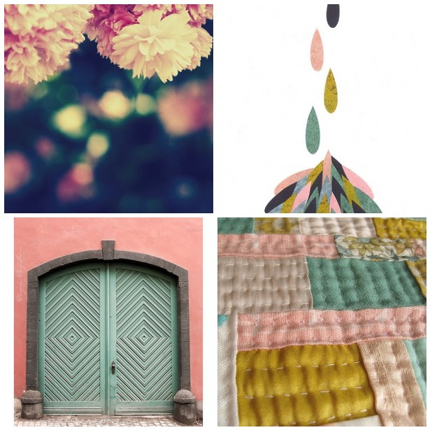 colour palette : salmon pinks and vintage greens - curated by Emma Lamb