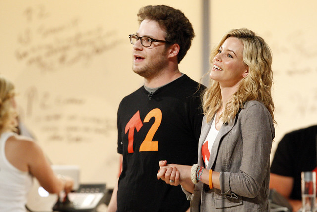 Seth Rogen and Elizabeth Banks on stage at the 2010 Stand Up To Cancer Show.
