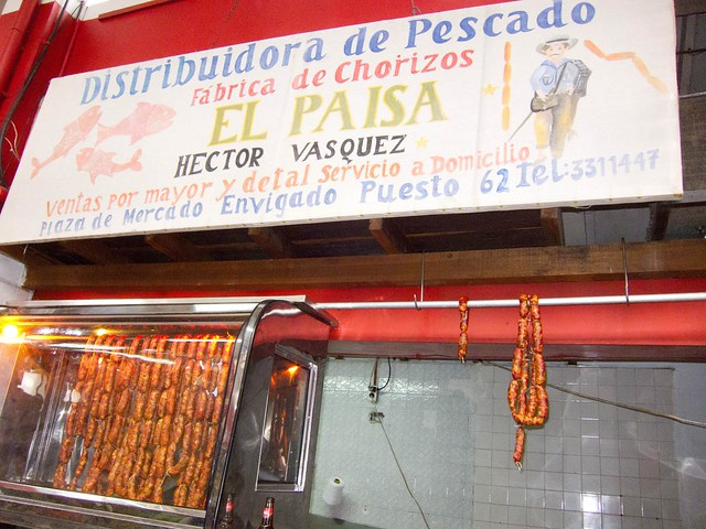 Freshly made chorizos in Medellin